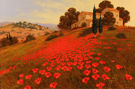 Steve Thoms, Original acrylic painting on board, Tuscan Poppies