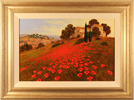 Steve Thoms, Tuscan Poppies, Original acrylic painting on board