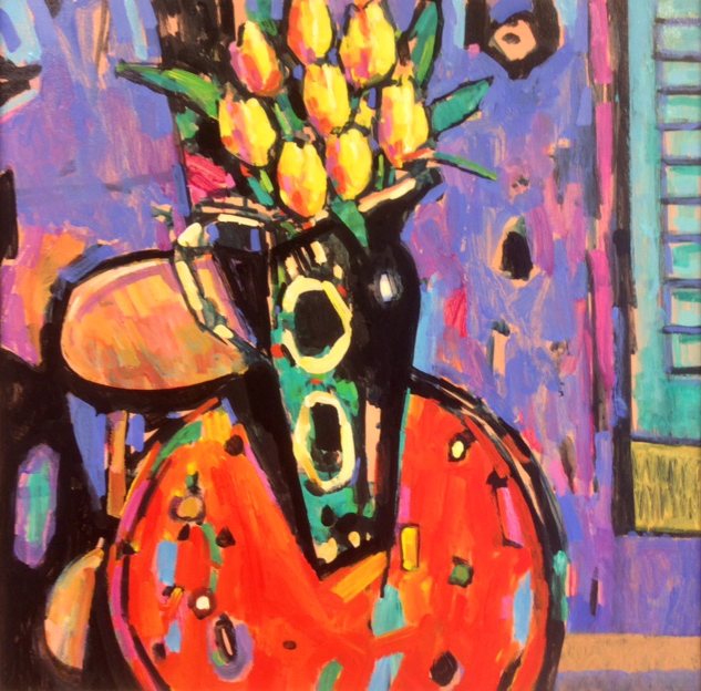 Terence Clarke, Original acrylic painting on canvas, The Yellow Tulips Click to enlarge