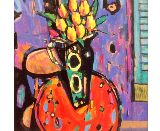 Terence Clarke, Original acrylic painting on canvas, The Yellow Tulips No frame image. Click to enlarge