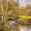 Terry Evans, Original oil painting on canvas, Summer by the River, North Yorkshire