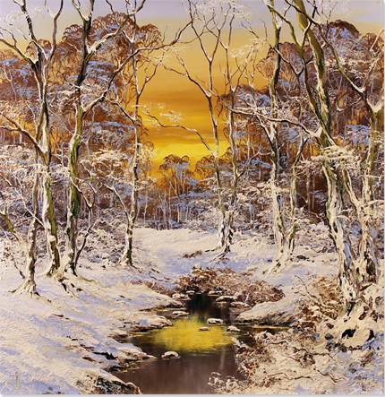 Terry Evans, Original oil painting on canvas, Swaledale in Snow, North Yorkshire No frame image. Click to enlarge