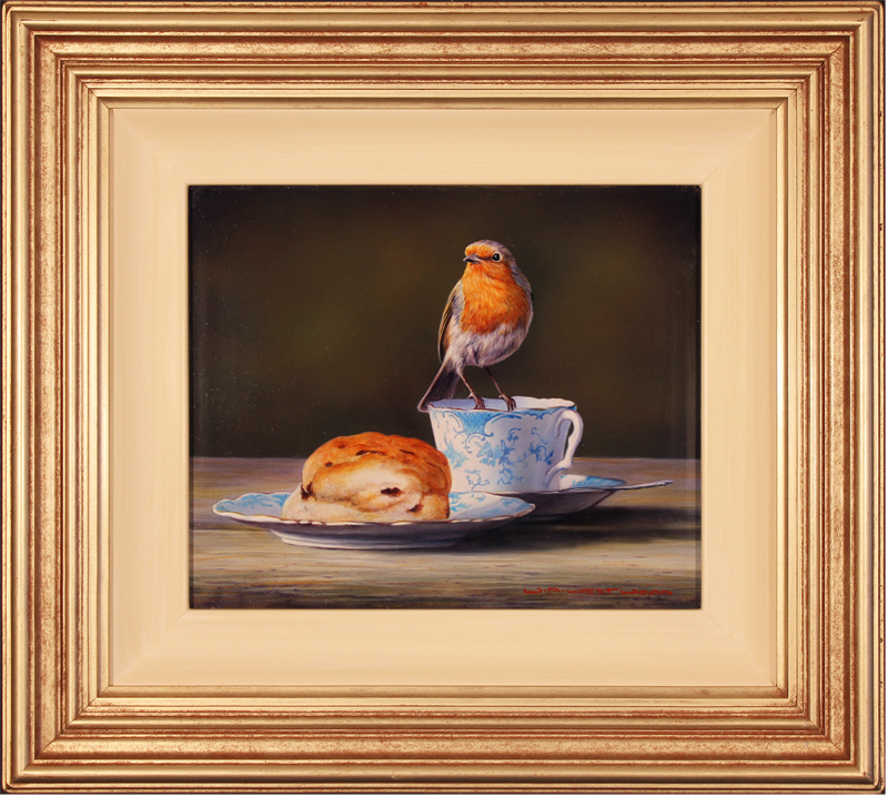Wayne Westwood, Original oil painting on panel, Robin on a Teacup Click to enlarge