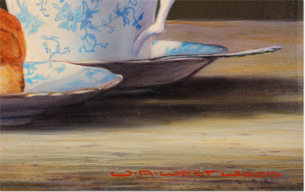 Wayne Westwood, Original oil painting on panel, Robin on a Teacup