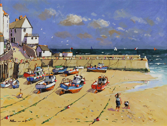 Alan Smith, Original oil painting on panel, Blue Skies, Yorkshire Coast No frame image. Click to enlarge