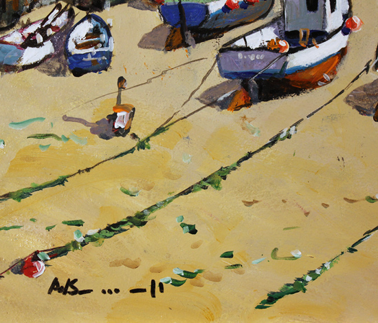 Alan Smith, Original oil painting on panel, Blue Skies, Yorkshire Coast Signature image. Click to enlarge