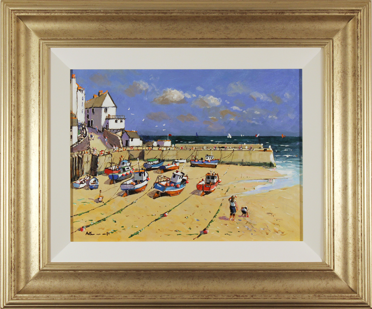 Alan Smith, Original oil painting on panel, Blue Skies, Yorkshire Coast Click to enlarge