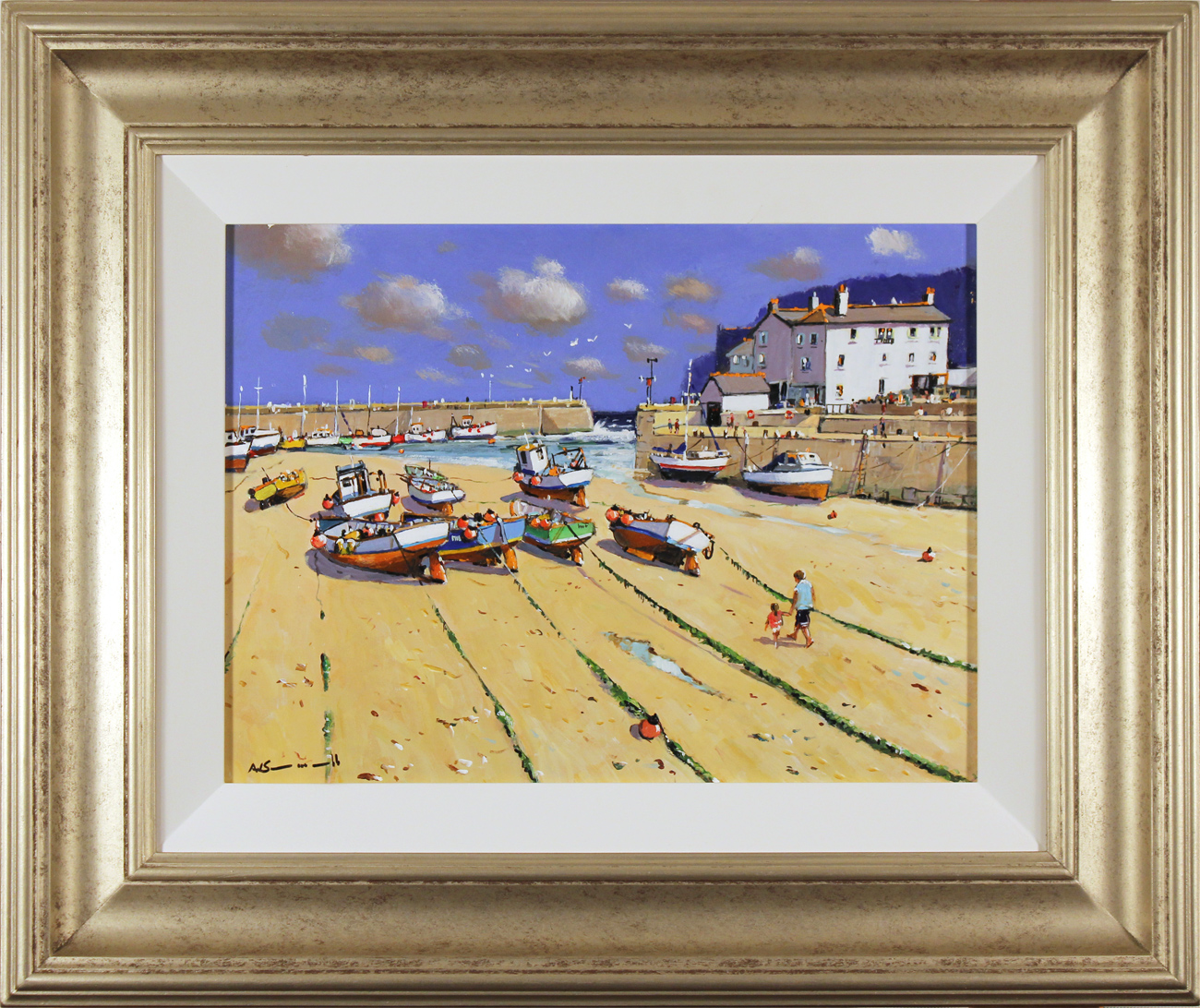 Alan Smith, Original oil painting on panel, Fishing Boats, Yorkshire Coast Click to enlarge