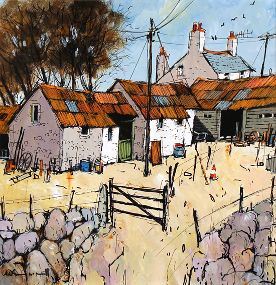 Alan Smith, Original acrylic painting on board, Farmyard Flurry