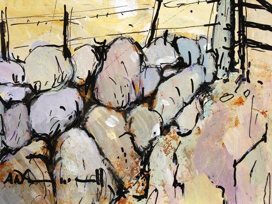 Alan Smith, Original acrylic painting on board, Farmyard Flurry Signature image. Click to enlarge