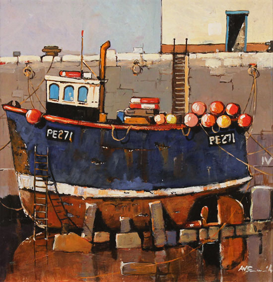 Alan Smith, Original oil painting on panel, Rusty Blue No frame image. Click to enlarge