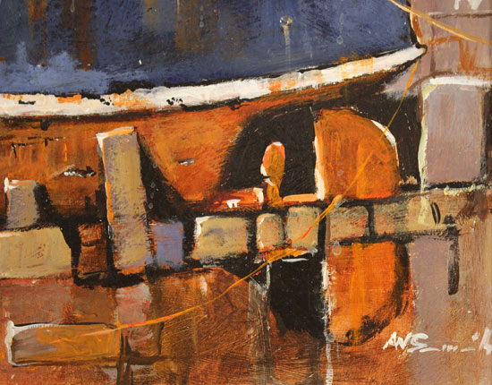 Alan Smith, Original oil painting on panel, Rusty Blue Signature image. Click to enlarge