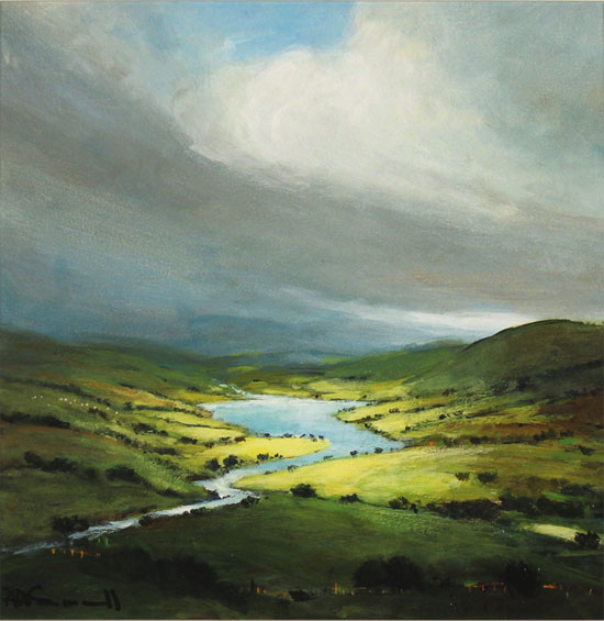 alan smith, Original oil painting on panel, Golden Light, The Lake District