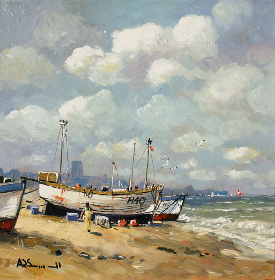 Alan Smith, Original oil painting on panel, Coastal Breeze No frame image. Click to enlarge