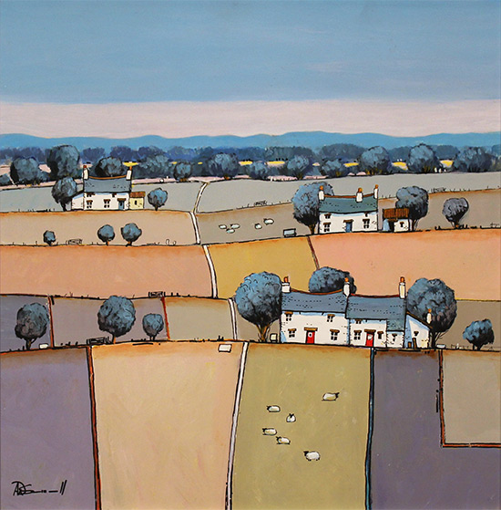 Alan Smith, Original oil painting on panel, Patchwork Fields No frame image. Click to enlarge