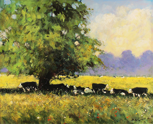 Alan Smith, Original oil painting on panel, Cows Resting No frame image. Click to enlarge