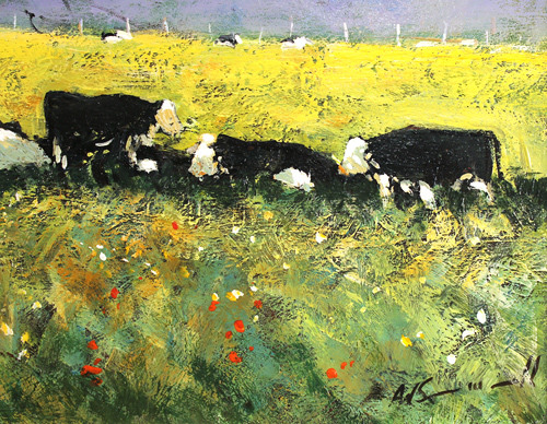 Alan Smith, Original oil painting on panel, Cows Resting Signature image. Click to enlarge