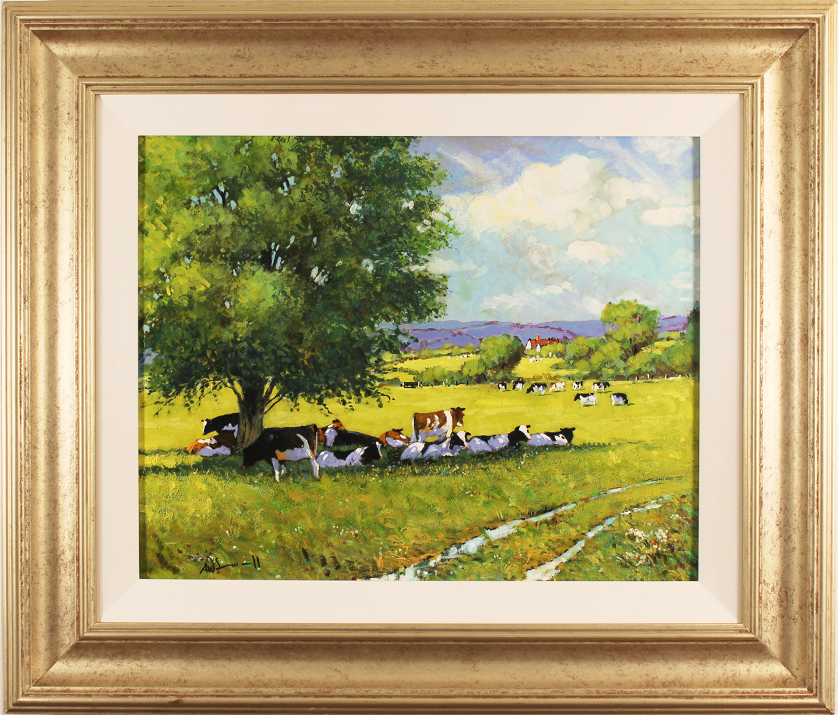 Alan Smith, Original oil painting on panel, Cattle Resting Click to enlarge