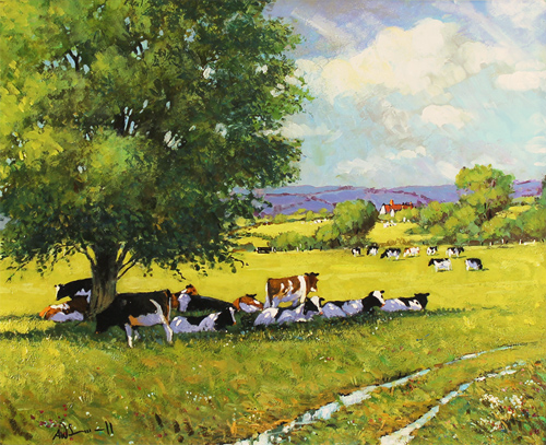 Alan Smith, Original oil painting on panel, Cattle Resting No frame image. Click to enlarge
