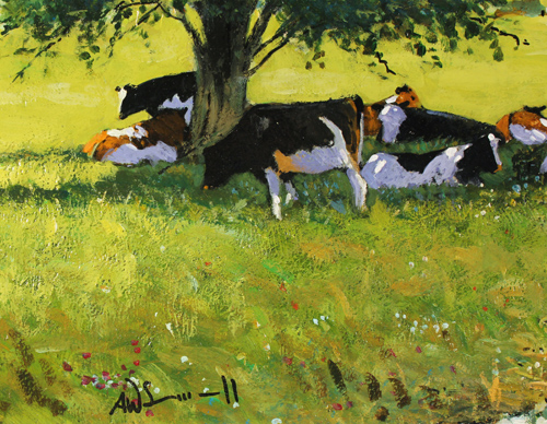 Alan Smith, Original oil painting on panel, Cattle Resting Signature image. Click to enlarge