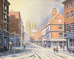 Alan Stuttle, Low Petergate to the Minster, York, Original oil painting on canvas