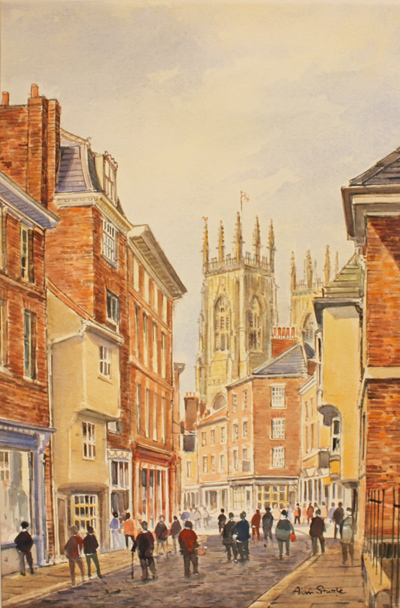 Alan Stuttle, Watercolour, York Minster, from Petergate