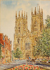 Alan Stuttle, Watercolour, York Minster from Duncolme Place