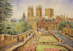 Alan Stuttle, Watercolour, York Minster from the City Walls