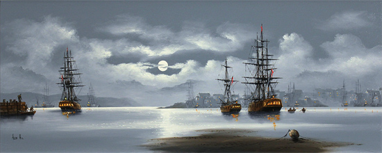 Alex Hill, Original oil painting on canvas, Out to Sea No frame image. Click to enlarge