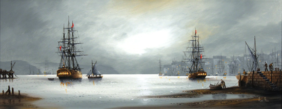 Alex Hill, Original oil painting on canvas, Night at the Docks No frame image. Click to enlarge