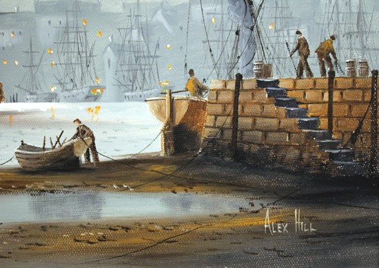 Alex Hill, Original oil painting on canvas, Night at the Docks Signature image. Click to enlarge