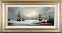 Alex Hill, Original oil painting on canvas, Night at the Docks Medium image. Click to enlarge
