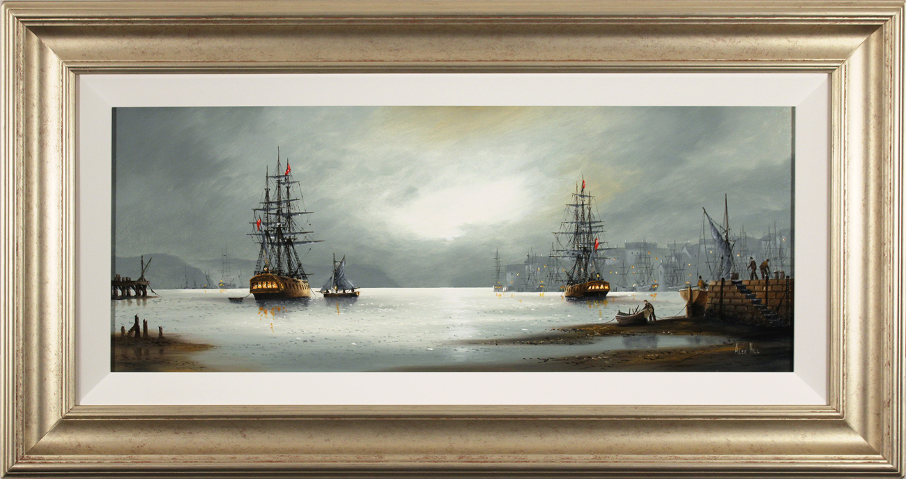Alex Hill, Original oil painting on canvas, Night at the Docks Click to enlarge