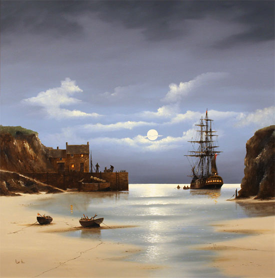 Alex Hill, Original oil painting on canvas, Low Tide at Smuggler's Bay No frame image. Click to enlarge