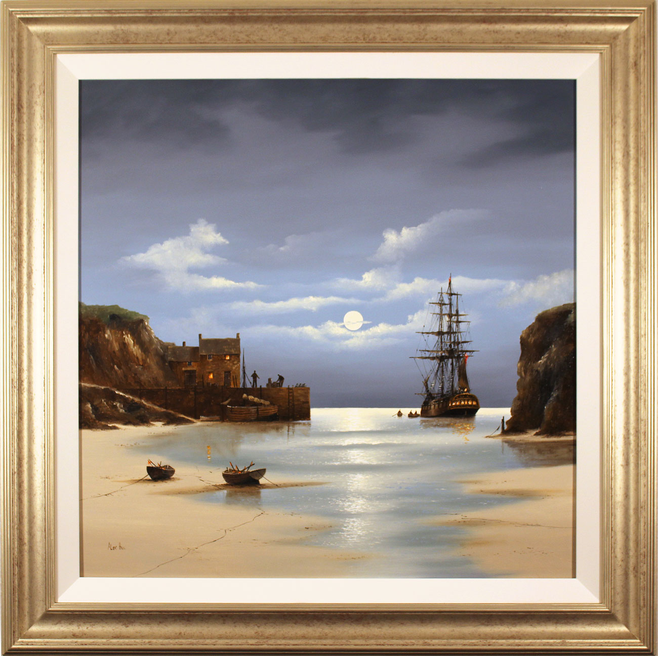 Alex Hill, Original oil painting on canvas, Low Tide at Smuggler's Bay Click to enlarge