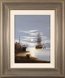 Alex Hill, Original oil painting on canvas, Night at the Docks