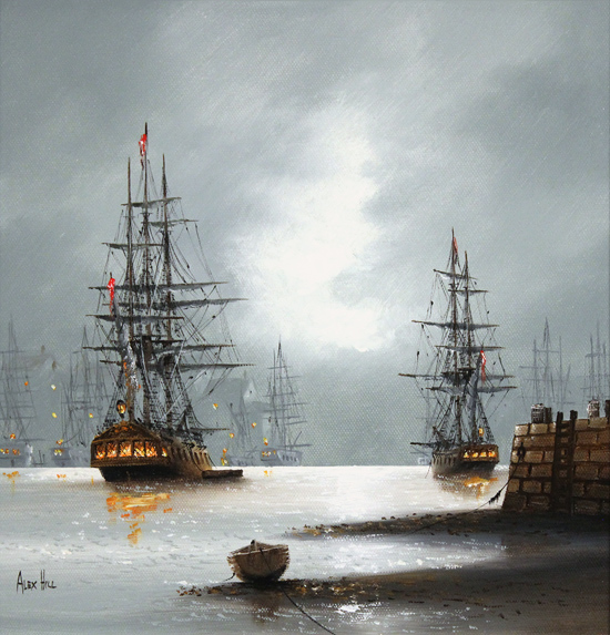 Alex Hill, Original oil painting on canvas, Dockside No frame image. Click to enlarge