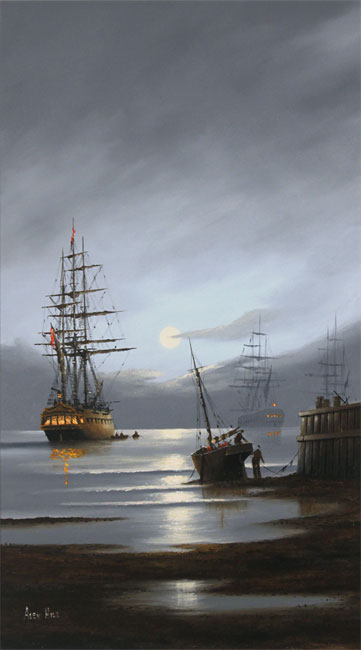 Alex Hill, Original oil painting on panel, Leaving Port