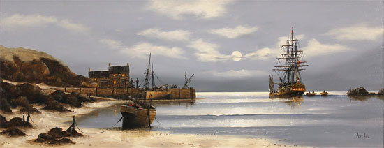 Alex Hill, Original oil painting on canvas, Smuggler's Bay No frame image. Click to enlarge