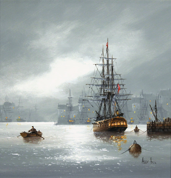 Alex Hill, Original oil painting on canvas, Leaving Port No frame image. Click to enlarge