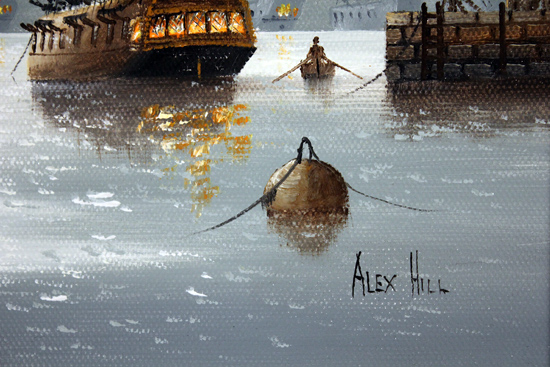 Alex Hill, Original oil painting on canvas, Leaving Port Signature image. Click to enlarge