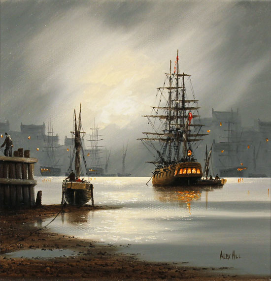 Alex Hill, Original oil painting on canvas, Moonlight Escape No frame image. Click to enlarge