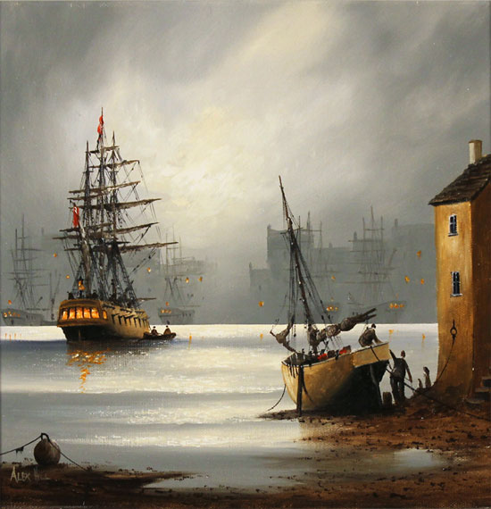 Alex Hill, Original oil painting on canvas, Moonlight Harbour