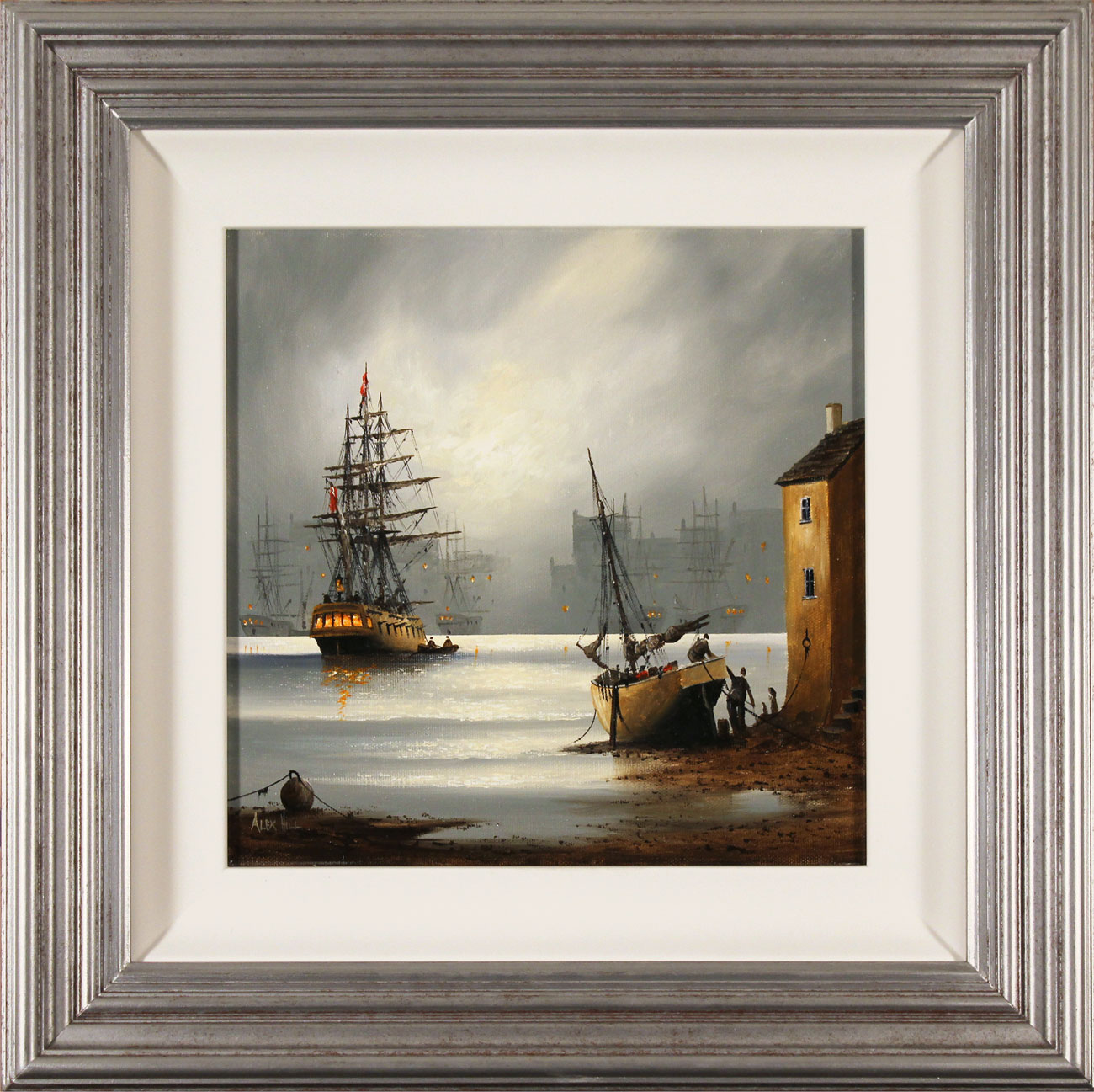Alex Hill, Original oil painting on canvas, Moonlight Harbour Click to enlarge