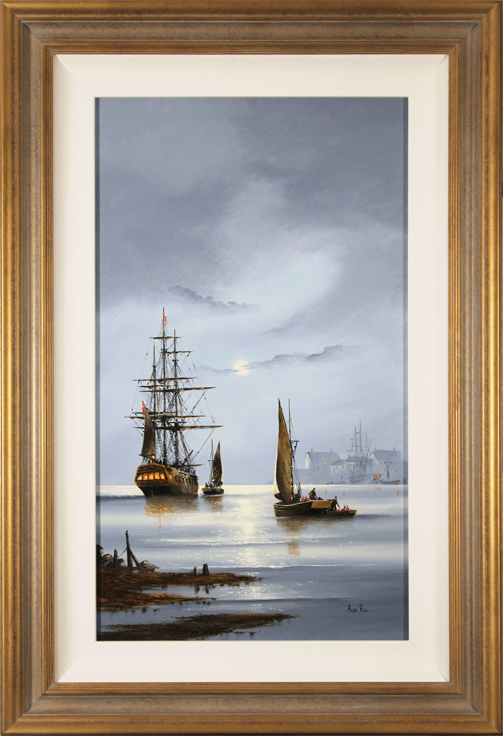 Alex Hill, Original oil painting on panel, Silver Tides Click to enlarge
