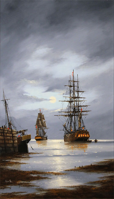 Alex Hill, Original oil painting on panel, Leaving Harbour No frame image. Click to enlarge