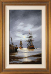 Alex Hill, Original oil painting on panel, Leaving Harbour