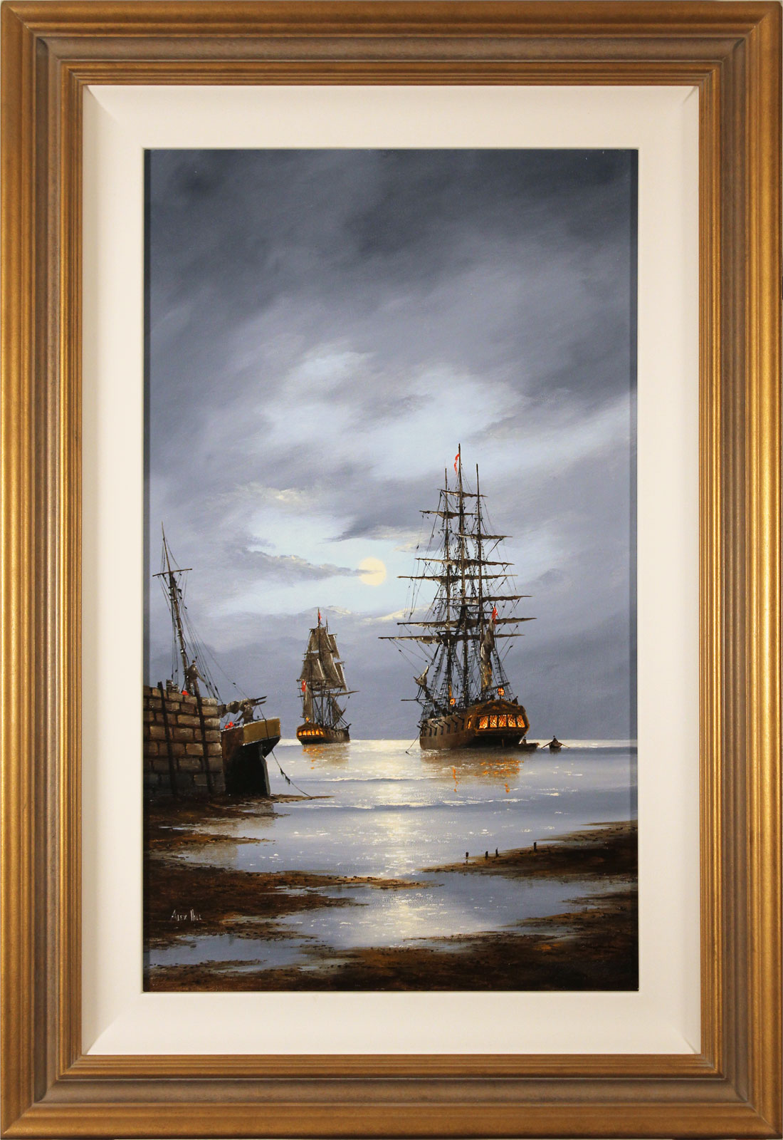 Alex Hill, Original oil painting on panel, Leaving Harbour Click to enlarge