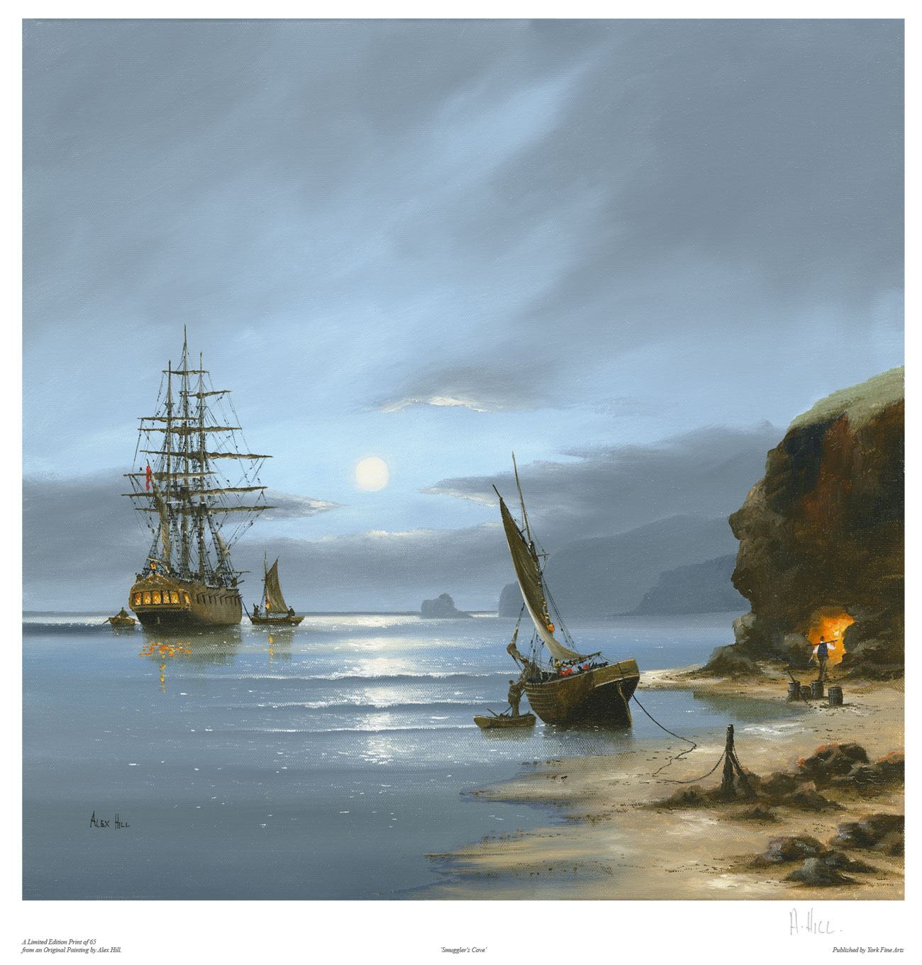 Alex Hill, Signed limited edition print, Smuggler's Cove Click to enlarge