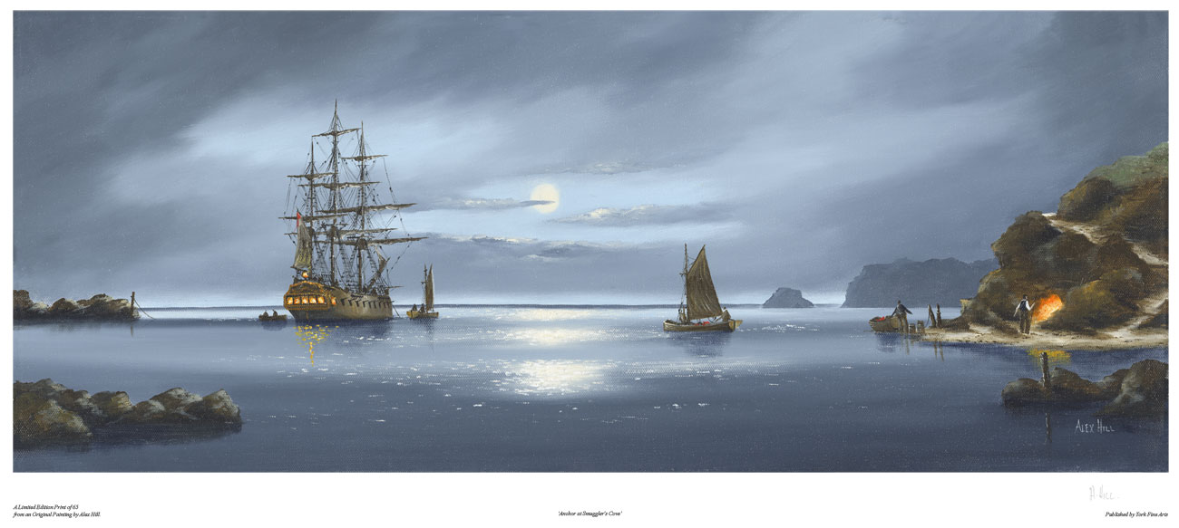 Alex Hill, Signed limited edition print, Anchor at Smuggler's Cove Click to enlarge